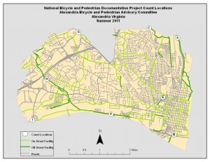 Alexandria BPAC 2011 Bicycle Census Location Map