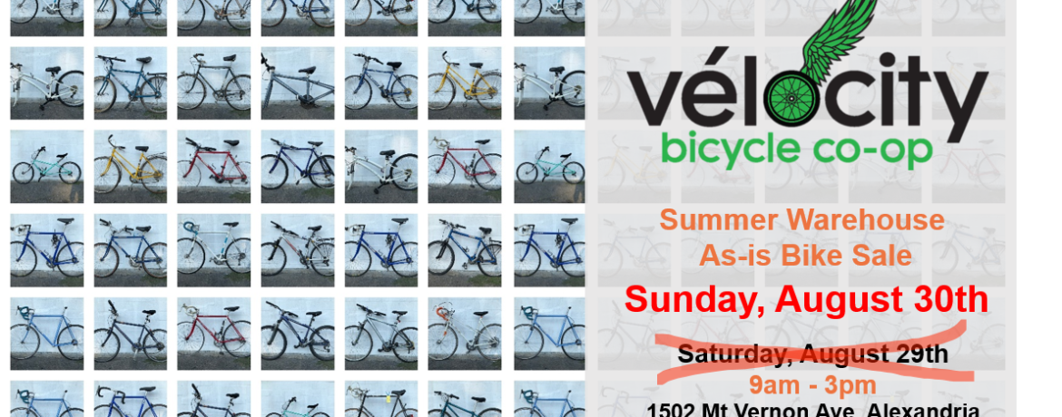 Summer 2020 As Is Bicycle Sale August 30