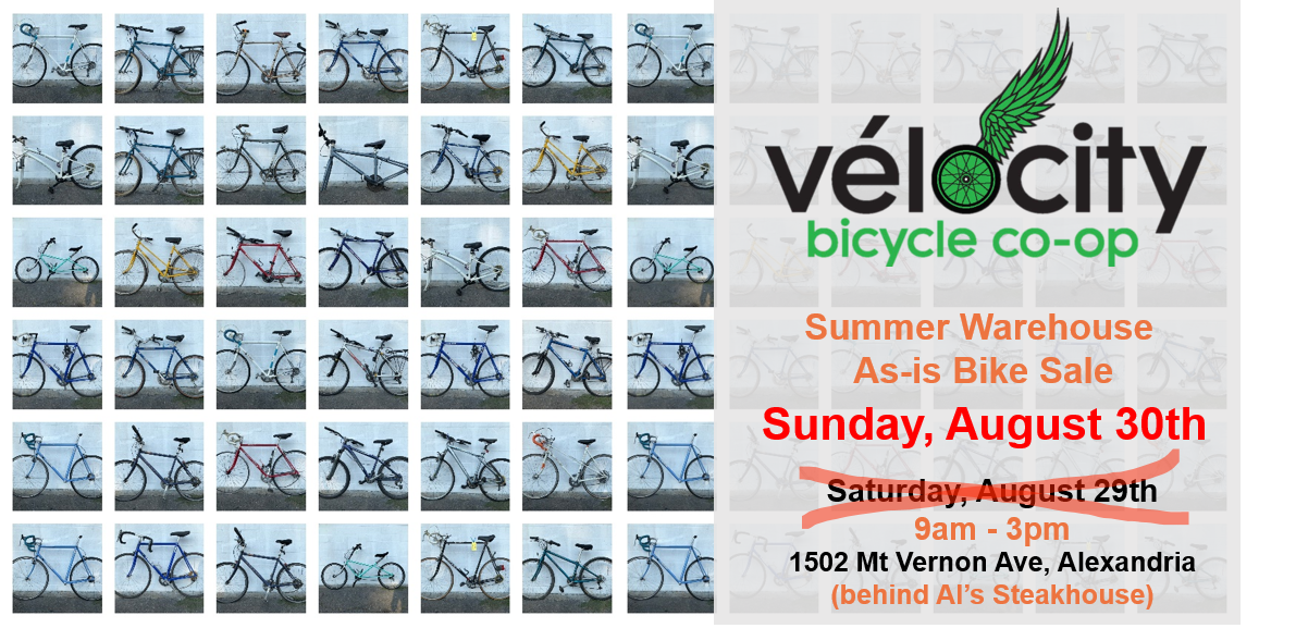 Summer 2020 As-is Bicycle Sale Sunday August 30 9am – 3pm