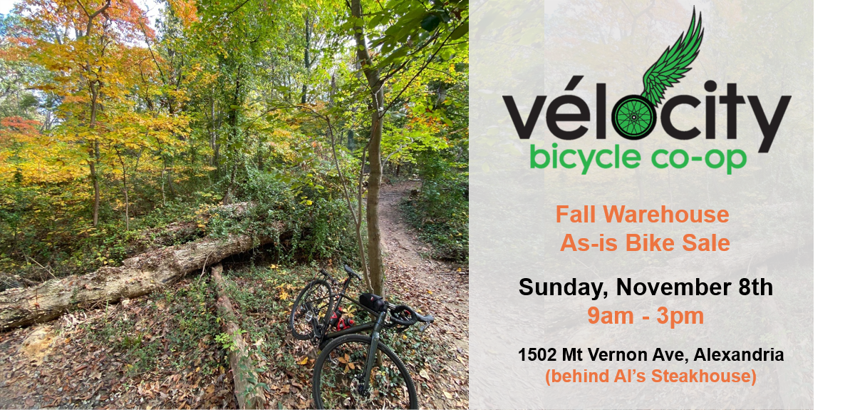 Vélocity's Fall Outdoor As-is Bicycle Sale is Sunday November 8th from 9am to 3pm!