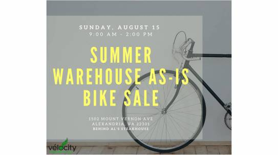 Vélocity's Summer 2021 As-is Bicycle Sale is Sunday, August 15 from 9:00 am to 2:00 pm